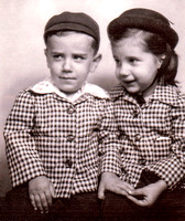 1948 Kenny and Kathy Miller in matching outfits made by mother (and after first haircut)